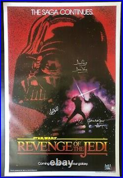 Mark Hamill, James Earl Jones, Dave Prowse Star Wars Signed Poster