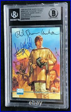 Mark Hamill & Phil Brown Topps STAR WARS Signed Autographed Card BAS BECKETT BGS
