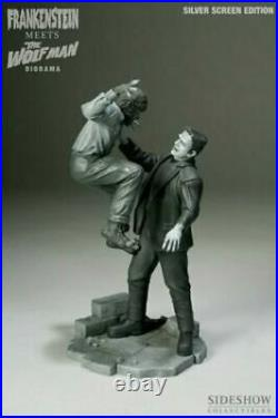 SIDESHOW FRANKENSTEIN MEETS SILVER EDITION THE WOLFMAN DIORAMA STATUE Monsters