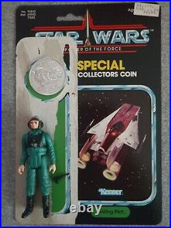 Vintage Kenner Star Wars A-Wing Pilot Complete with Coin and card Last 17 hg